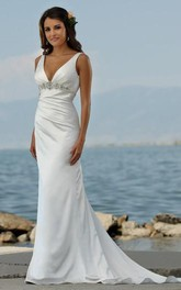 Sexy V Neck Sheath Column Sweep Train Beaded Beach Wedding Dresses