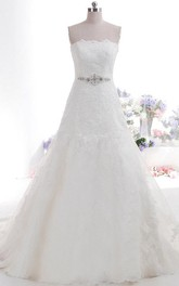 Beautiful Strapless Straight Neckline Trumpet Style Lace Wedding Dress With Beaded Sash