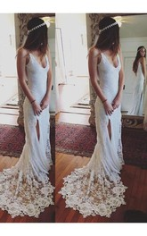 Sheath Straps Sleeveless Lace Court Train Wedding Dresses