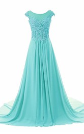 Dramatic Floor Length Chiffon Dress With Beaded Lace Appliques