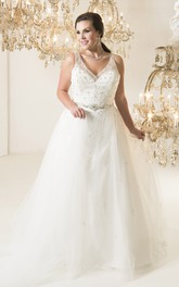 Ball Gown Long V-Neck Sleeveless Tulle Court Train Deep-V Back Pleats Dress