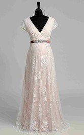 Short Sleeve V-neck Pleated Long Lace Maternity Wedding Dress