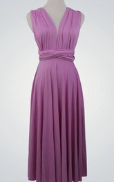 Short Convertible Bridesmaid Dress With Bow