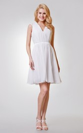 V-neck Appliqued A-line Short Chiffon Dress With Keyhole and Ruching