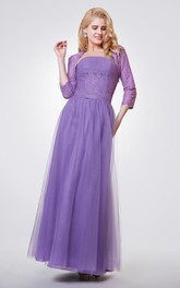 Strapless A-line Long Ruched Chiffon and Lace Dress