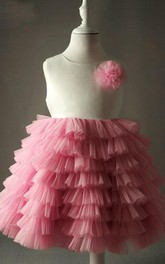 Ball Gown Lace Dress With Ruffles and Flower