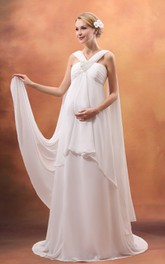 Fairy Empire Maternity Wedding Dress With Strap And Ruched Top