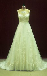 Spaghetti Empire Long Tulle Wedding Dress With Sash And Flower