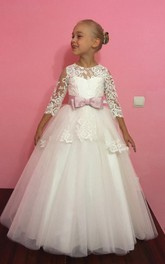 Tulle&Lace Dress With Appliques and Bow Belt