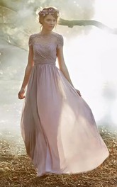 A-line Jewel Cap Short Sleeve Floor-length Chiffon Bridesmaid Dress with Appliques and Ruching