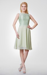 High Neck Knee Length Lace and Chiffon Bridesmaid Dress