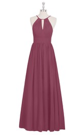 A-Line Long Sleeveless Chiffon Dress With Keyhole and Ruching