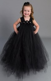 strapped Pleated Empire Tulle Dress With Flower Sash Ribbon
