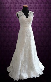 Scalloped Sleeveless Keyhole Back Long Lace Wedding Dress With Sash And Ruching