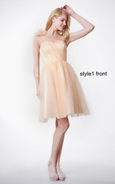 Sweetheart Ruched Short A-line Tulle Dress With Convertible Sash