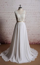 V-Neck Long Chiffon Bridal Gown With Champagne Lining of the Bodice