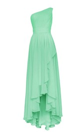 Asymmetrical One-shoulder Pleated A-line Dress With Ruched Band
