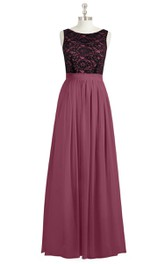 Bateau Neck Sleeveless A-Line Chiffon Dress With Lace Bodice