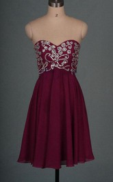 Short Chiffon&Satin Dress With Beading&Sequins