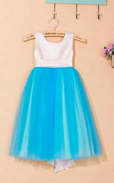 Sleeveless Scoop Pleated Tulle&Satin Dress With Flower