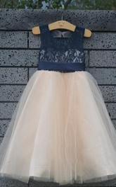 Lace Top Tulle Dress With Satin Belt
