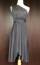 Slate Bridesmaid Convertible Twist Wrap Dress