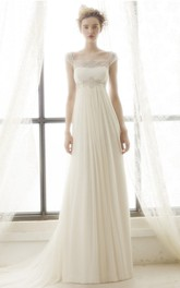 Sheath Maxi Cap-Sleeve Pleated Empire Square-Neck Tulle Wedding Dress With Appliques And Illusion