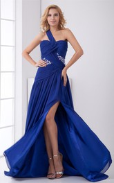 chiffon maxi pleated dress with single strap and rhinestone