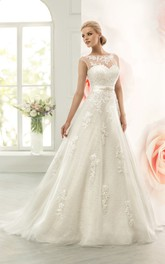 A-Line Floor-Length Bateau Cap-Sleeve Corset-Back Lace Dress With Appliques And Waist Jewellery
