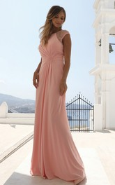 Elegant Bateau Sheath Chiffon Short Sleeve Formal Dress with Beading and Zipper Back