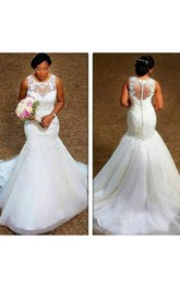 Elegant Sheer Neck Appliques Lace Plus Size Illusion Back Mermaid Wedding Dress