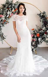 Elegant Lace Bateau Sheath Short Sleeve Wedding Dress with Appliques and Keyhole Back