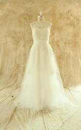 Jewel Sleeveless Deep-V Back Tulle Wedding Dress With Sash And Appliques
