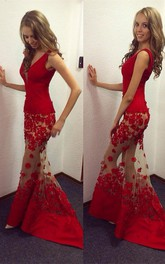 Sexy Red V-Neck Mermaid 2018 Prom Dresses Sheer Skirt Long Lace