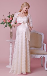 Sweetheart Allover Lace Maternity Wedding Dress With Satin Bow and Removable Jacket