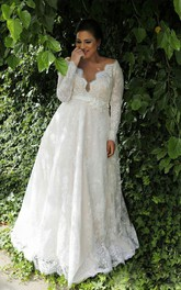 Sexy Sheer V Neck Long Sleeves Lace Floor Length Garden Plus Size Wedding Dress