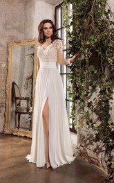 Sexy Chiffon V-neck Floor Length Bridal Gown with Split Front