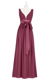 Sleeveless Floor Length A-Line Chiffon Dress With Satin Bow Sash