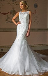 Mermaid Sleeveless Appliqued Floor-Length Bateau Lace&Tulle Wedding Dress With Illusion Back And Chapel Train