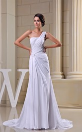 Criss-Cross One-Shoulder Ruched Chiffon Gown with Pleats and Court Train