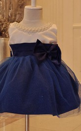 Tulle&Satin Dress With Beadings and Bow
