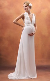 V-Neck Empire Backless Maternity Dress With Flower