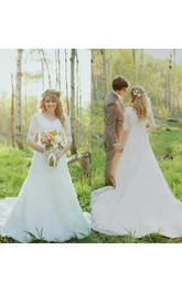 Half Sleeves V-neck A Line Lace Vintage Wedding Gown