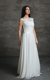 Boho A-Line Chiffon Wedding Dress With Swarovski Crystal Belt