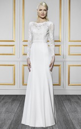 Bateau Long Long-Sleeve Appliqued Chiffon Wedding Dress With Sweep Train And V Back