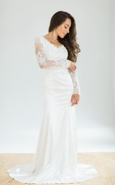 White Vintage Style Mermaid Wedding With Long Lace Sleeves Dress