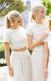 Modern White Two Piece A-line 2018 Bridesmaid Dress Lace Short Sleeve Jewel