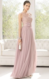 Sheath Sleeveless Floor-Length Appliqued Jewel-Neck Tulle Prom Dress With Flower And Pleats