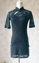 2018 Chines Style Short Black Lace Mini Black Short Black Prom Black Wedding Short Sleeve Custom Summer Dress
