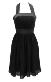 Halter A-line Chiffon Dress With Pleats